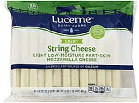 lucerne string cheese mozzarella light 36 0 ea nutrition