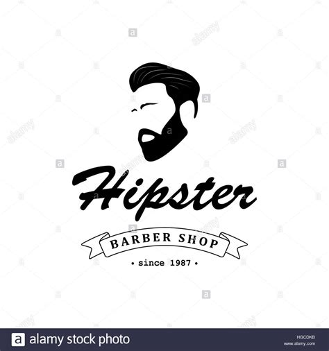 logo  barber shop hair salon  hipster head