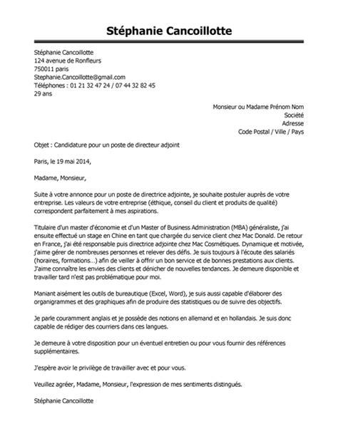 lettre de motivation chef de cuisine lettre de motivation directeur adjoint exemple lettre de