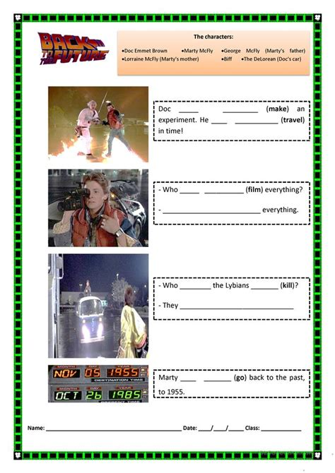 worksheet quot back to the future quot present