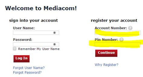 mediacom phone number after registration you will be able to access your