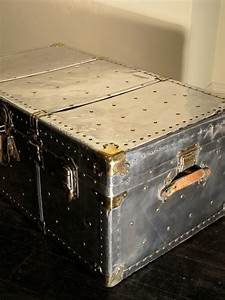 1930s polished steel travel trunk coffee table trunks With travel trunk coffee table