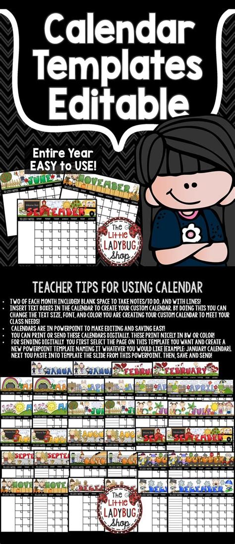 calendar editable template  monthly themes perfect