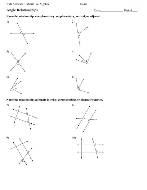 Geometry Angle Relationships Worksheets Worksheets For All  Download And Share Worksheets