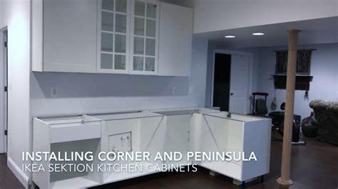 installing ikea kitchen cabinets installing ikea sektion cabinets corner peninsula 4733