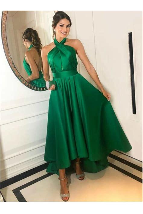 High Low Asymmetrical Long Green Halter Prom Dresses ...