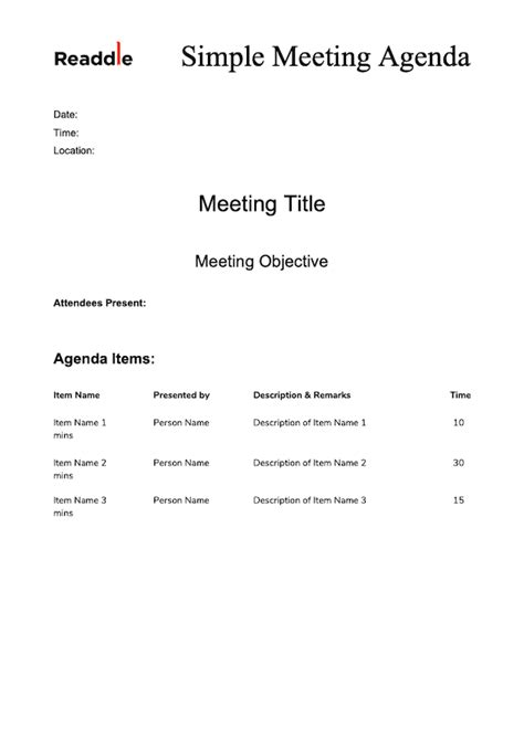 meeting agenda template meeting agenda