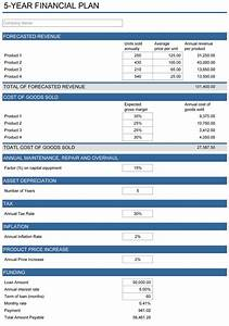 5 year financial plan free template for excel for Investment plan template xls