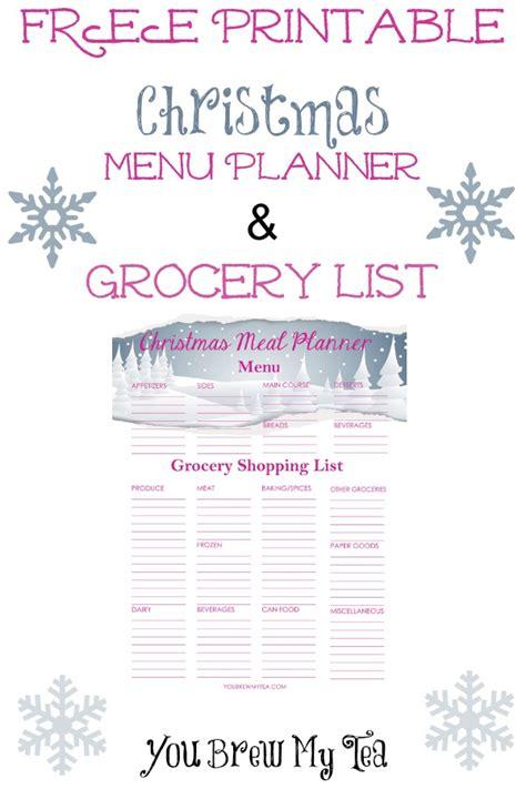 Christmas Dinner Shopping List Template by Free Printable Christmas Menu Planner Grocery List