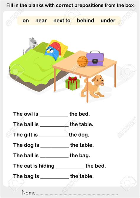 image result for preposition worksheets in on