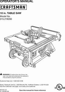 Craftsman 315218280 User Manual Table Saw Manuals And
