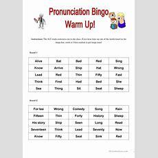 Pronunciation Bingo Warm Up Worksheet  Free Esl Printable Worksheets Made By Teachers