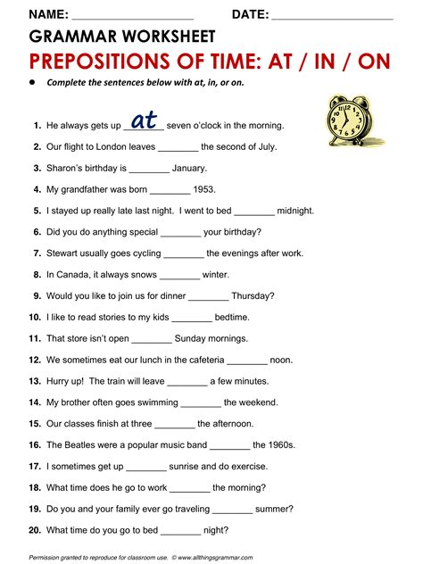 grammar prepositions of time at in on
