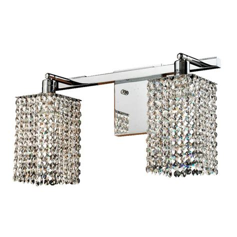 glow lighting fuzion 2 light square single layer crystal and chrome wall sconce 7w2lsp 2x702a
