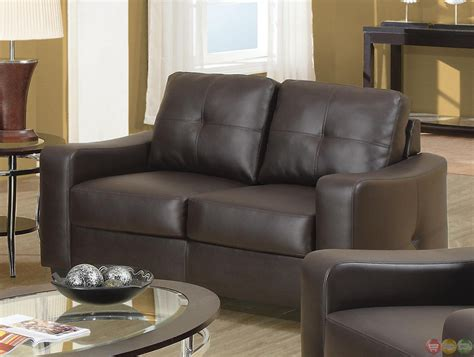 Jasmine Contemporary Brown Leather 2 Piece Sofa Set