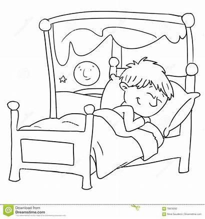 Clipart Sleeping Sleep Bed Child Drawn Illustration
