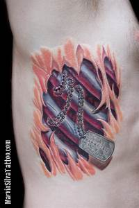 Dog Tag Rib Cage Tear Out Tattoo by Marvin Silva: TattooNOW