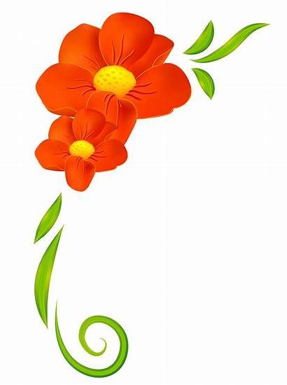 Clipart Flower Border Floral Decor Orange Flowers