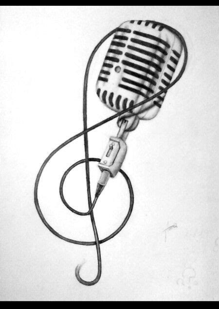 Music note and microphone tattoo sketch | Tattoos Bands