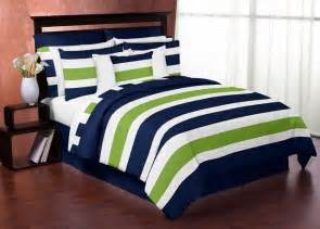 navy blue lime green white stripes full queen kid teen boy bedding comforter set kids twin