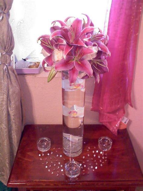 my diy tall stargazer lily centerpiece wedding