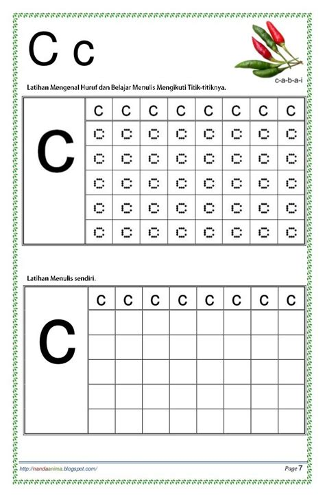belajar mengenal  menulis huruf abc alphabet