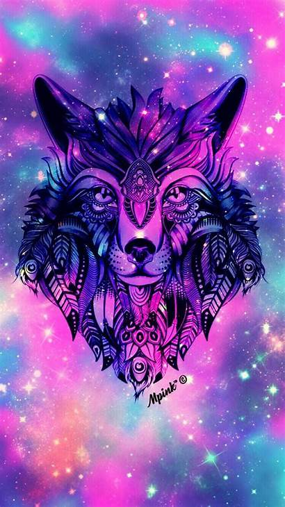 Wolf Galaxy Wallpapers Wolves Backgrounds Pink Cool