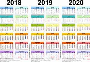 Jahreskalender 2018 2019 : dreijahreskalender 2018 2019 2020 als pdf vorlagen ~ Jslefanu.com Haus und Dekorationen