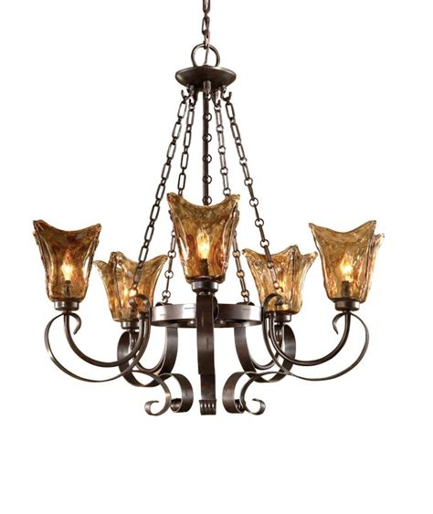 Uttermost Replacement L Shades by Uttermost 21007 Rubbed Bronze 5 Light Single Tier