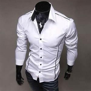 Chemise Homme Slim Fit : chemise homme elegance fashion classique slim fit blanc ~ Nature-et-papiers.com Idées de Décoration
