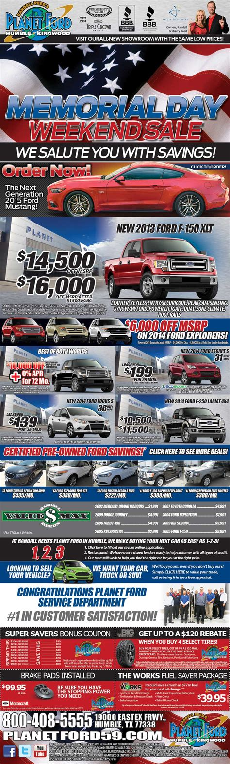 Planet Ford's Memorial Day Weekend Sales Event   Planet