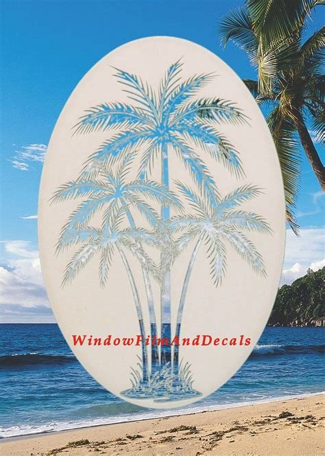 palm tree etched glass vinyl window decal