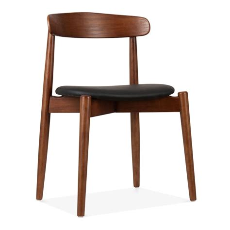 chaise couleur cult design walnut wood concept dining chair with black