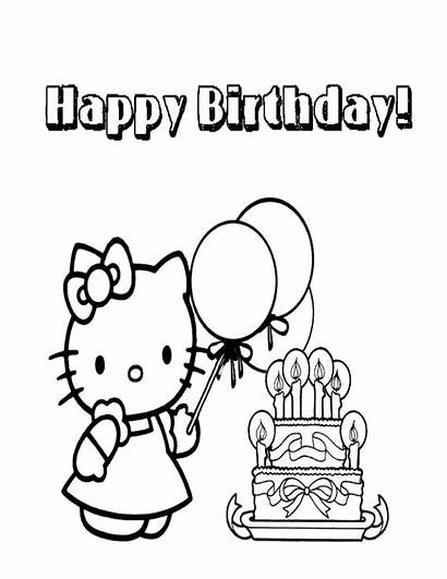 Coloring Kitty Hello Birthday Happy Pages Fairy