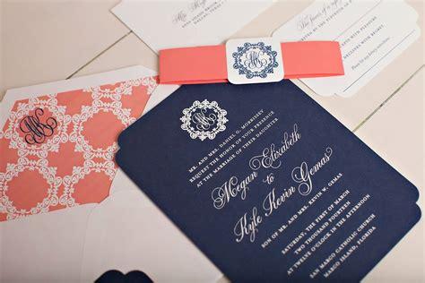 monogrammed wedding invitations nico  lala