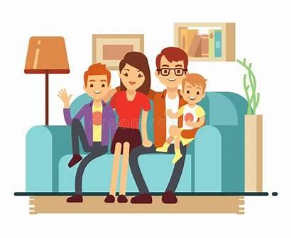 Living Sofa Happy Children Illustration Woman Vector