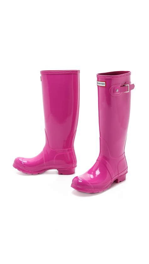 Lyst - Hunter Original Tall Gloss Boots in Pink