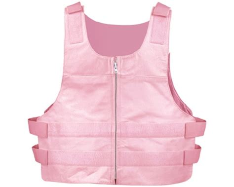 Women's Leather Motorcycle Vest 5xl Pink Bullet-proof Zip
