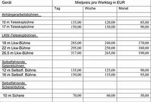 Mietpreise Berechnen : arbeitsb hnen mieten albers f rdertechnik twist emsland ~ Themetempest.com Abrechnung