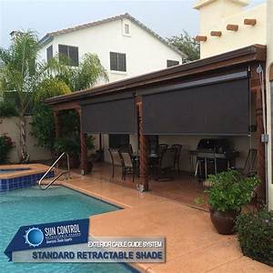 Manual Standard Retractable Patio Shade With Cable Guided