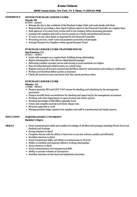 Accounting Resume Sles Canada by Sle Cv For Purchase Ledger Clerk Writing Your Sales