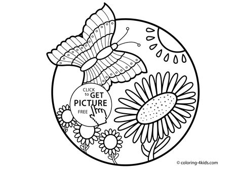 nature coloring page butterfly  flowers  kids