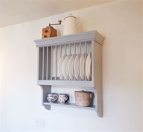 bespoke traditional style wall mounted plate rack   rustic country kitchen style rustic
