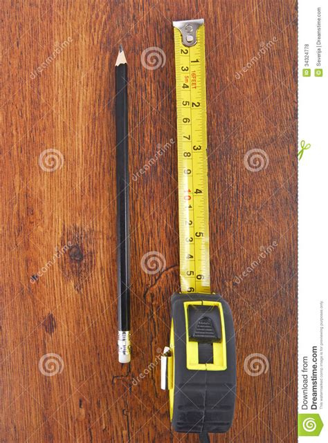 pencil wood laminate tape measure and pencil royalty free stock photos image 34324778