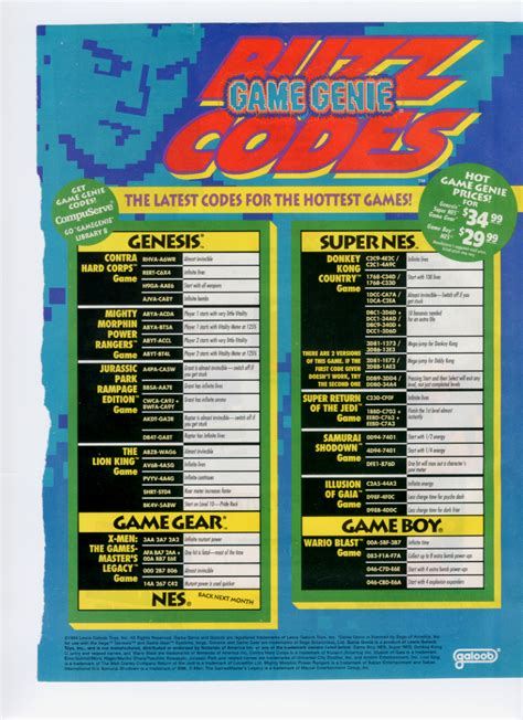 Sega Genesis Game Genie Codes