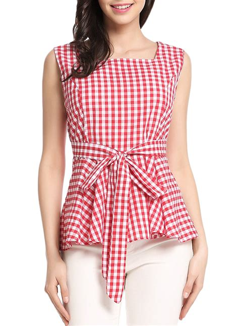 bow neck blouse plaid square neck sleeveless bow knot ruffle blouse