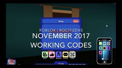 roblox rocitizens november  money codes youtube
