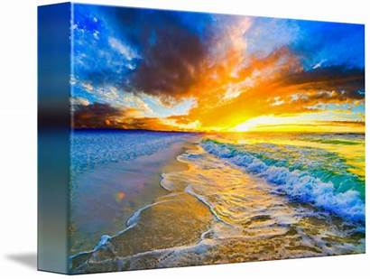 Waves Ocean Sunset Orange Golden Bright Eszra
