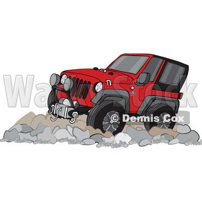 red jeep clipart clipart of a cartoon red jeep wrangler suv on rocks