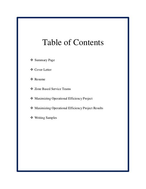 table of contents sle david early professional portfolio